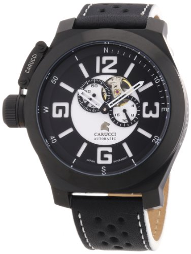 Carucci Watches Herren Armbanduhr XL Analog Automatik Leder CA2175BK BK