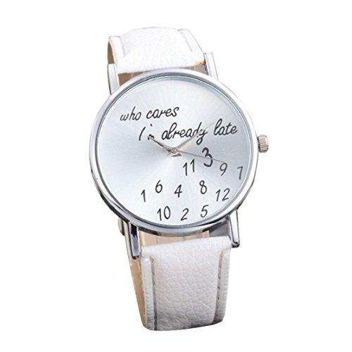 Tongshi Mode Frauen Maenner PU Leder Band laessig analoge Quarz Armbanduhr