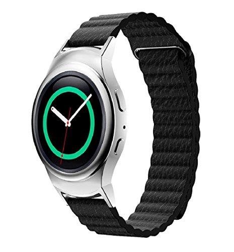 Tongshi PU Leder Schleife Typ Band Uhrenarmband Stecker fuer Samsung Gear S2 RM 720 schwarz
