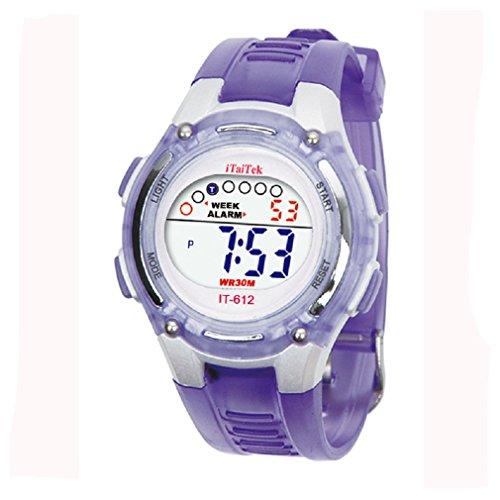 Tongshi Kinder Jungen Maedchen Schwimmen Sportarten digitale wasserdichte Armbanduhr lila