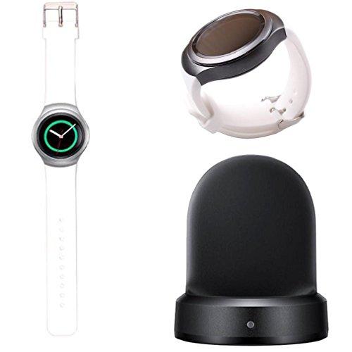 Tongshi Silikon Band Armband fuer Samsung Galaxy Gear S2 SM R720 Ladegeraet Dock weiss