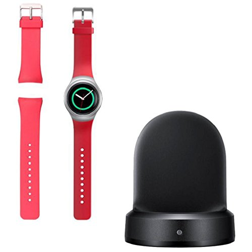Tongshi Silikon Band Armband fuer Samsung Galaxy Gear S2 SM R720 Ladegeraet Dock rot