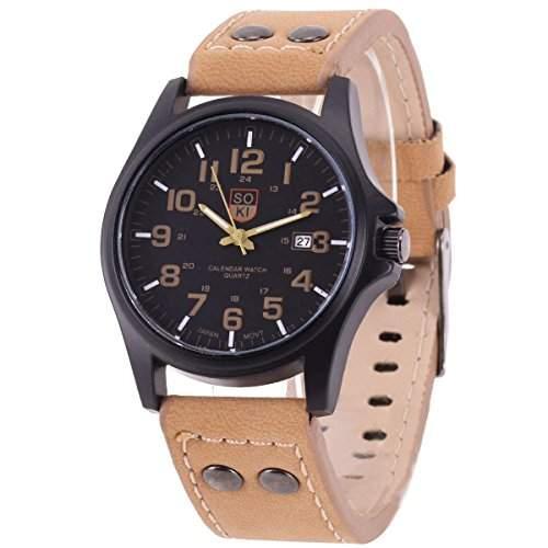XLORDX Uhr Retro Armbanduhr Damen Uhr Herrenuhren Datum Quarzwerk Uhr PU Leder Geschenk Gift Watch Braun