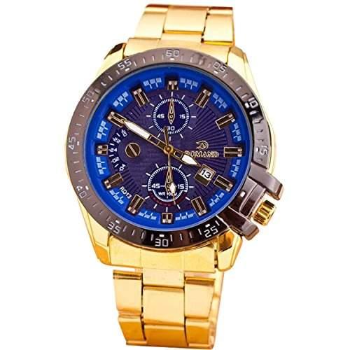 XLORDX Goldene Ring Datum Herren Uhr Analog Quarzuhr Edelstahl Armbanduhr Blau