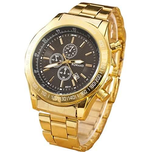 XLORDX Mode Herrenuhr Gold Edelstahl Quarz Analog Sport Armbanduhr Uhr Schwarz