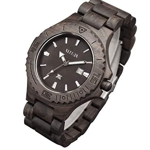 XLORDX Holzuhr Schwarz Bambus Datum Armbanduhr Herrenuhr aus Holz Freund Ehemann Geschenk Gift Watch