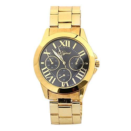 XLORDX Geneva Designer Damenuhr Gold Edelstahl Schwarz Roman Quartz Uhr Chronograph Sportuhr