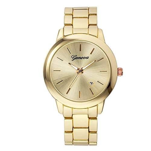XLORDX Geneva Designer Strass Datum Damenuhr Uhr Chronograph Optik Gold Strassuhr Blogger Bloggeruhr