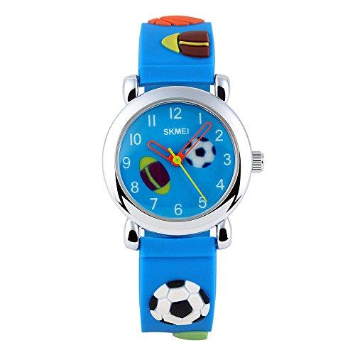 XLORDX SKMEI Amerika Fussball Kinderuhr Junge Armbanduhr Blau Sportuhr Lernuhr