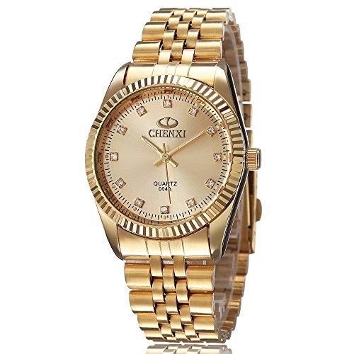 XLORDX Business Casual Analog Quarz Gold Uhr mit Edelstahl Armband Gold Zifferblatt