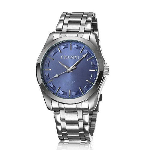XLORDX Business Casual Analog Quarz Sport Uhr mit Edelstahl Armband Blau Zifferblatt