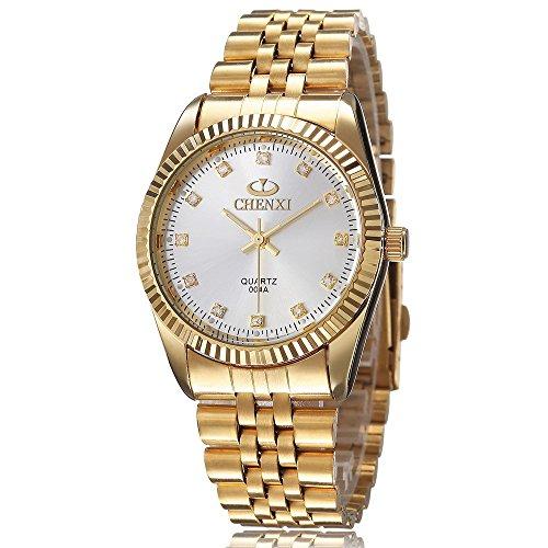 XLORDX Business Casual Analog Quarz Gold Uhr mit Edelstahl Armband Weiss Zifferblatt