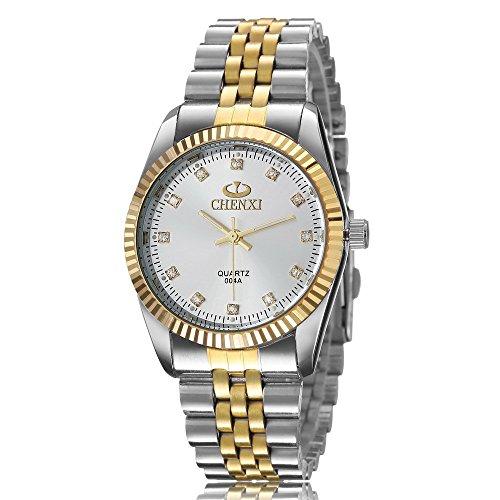 XLORDX Analog Quarz Strass Silber Gold Uhr mit Edelstahl Armband Weiss Zifferblatt