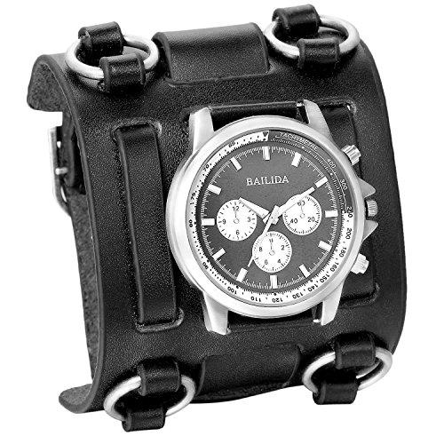 XLORDX Analog Quarz Fashion Elegant Casual Sport Uhr mit Schwarz Breit Leder Armband Rund Zifferblatt
