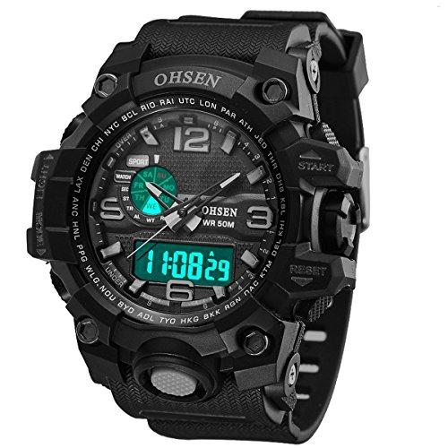 XLORDX Herren Sport LED Armbanduhr Resin Analog Digital Quarz Kalender Alarm Chronograph 5ATM wasserdicht Schwarz
