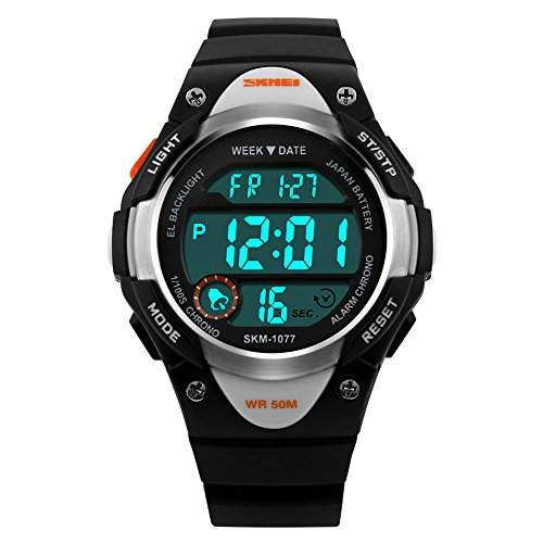 XLORDX SKMEI Kinder Sport Armbanduhr Resin Analog Digital Quarz Datum Kalender Alarm Chronograph 5ATM wasserdicht Schwarz