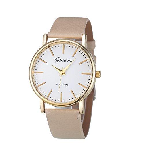 XLORDX Geneva Uhren Luxus Damen Lederarmband Vogue Analog Qaurzuhr Beige