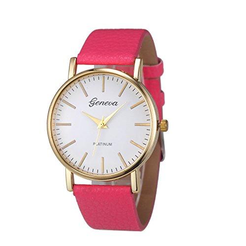 XLORDX Geneva Uhren Luxus Damen Lederarmband Vogue Analog Qaurzuhr Rot