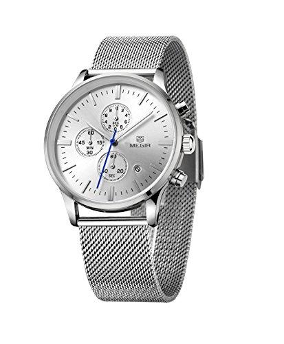 XLORDX Herren Armbanduhr Ultra Duenn Silber Meshband Edelstahl Chronograph Quartz Analog Sport Uhren