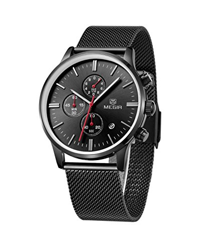 XLORDX Herren Armbanduhr Ultra Duenn Schwarz Meshband Edelstahl Chronograph Quartz Analog Sport Uhren
