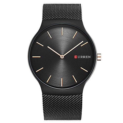 XLORDX Luxus Herren Sport Armbanduhr Minimalistic Analog Quartz Ultra duenn Schwarz Edelstahl Mesh Band Uhren