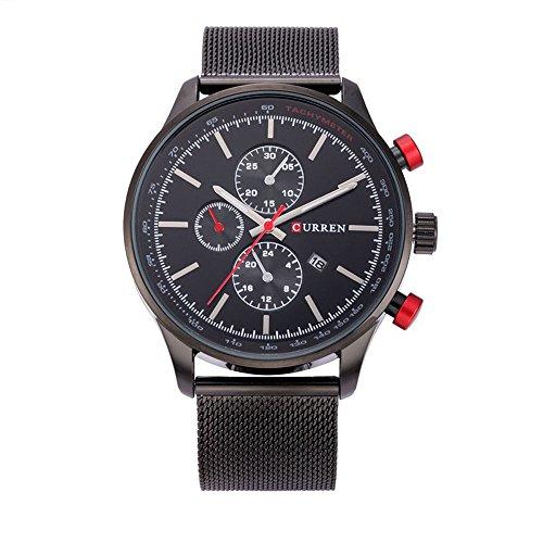 XLORDX Curren Classic Herren Damen Unisex Armbanduhr Datum Analog Quarz Schwarz Edelstahl Minimalism Uhr Schwarz