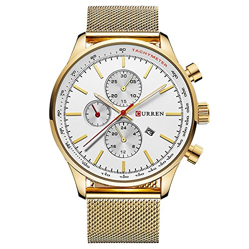XLORDX Curren Classic Herren Damen Unisex Armbanduhr Datum Analog Quarz Gold Edelstahl Minimalism Uhr Weiss