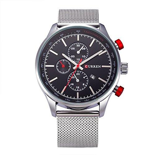 XLORDX Curren Classic Herren Damen Unisex Armbanduhr Datum Analog Quarz Silber Edelstahl Minimalism Uhr Schwarz