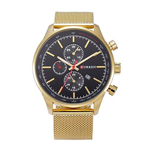 XLORDX Curren Classic Herren Damen Unisex Armbanduhr Datum Analog Quarz Gold Edelstahl Minimalism Uhr Schwarz