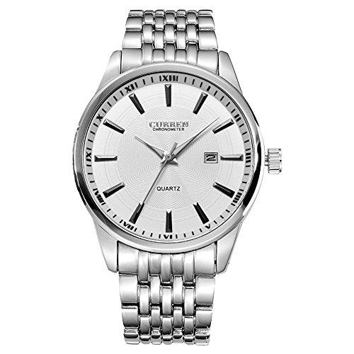 XLORDX Curren Herren Armbanduhr Casual Minimalism Datum Quarz Sport Uhr Analog Silber Edelstahl Weiss