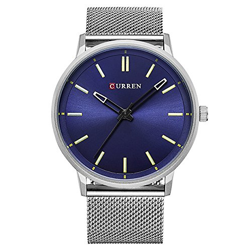 XLORDX Curren Luxus Herren Damen Unisex Armbanduhr Analog Quarz Ultra duenn Silber Edelstahl Sportuhr Uhren Blau