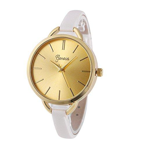 XLORDX Mode Weiss Leder Gold Gitter Edelstahl Quartz Analog Uhr Sportuhr Hours Watch