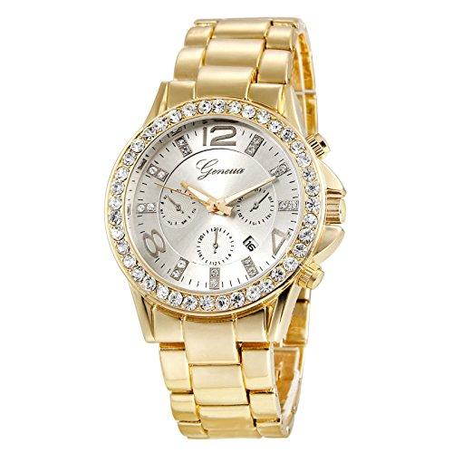 XLORDX Geneva Designer Datum Strass Gold Uhr Chronograph Optik Strassuhr Weiss