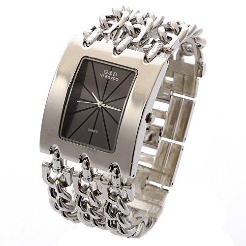 XLORDX Silber Metall Edelstahl Armbanduhr Quartz Armreif Analog Ketteuhr schwarz