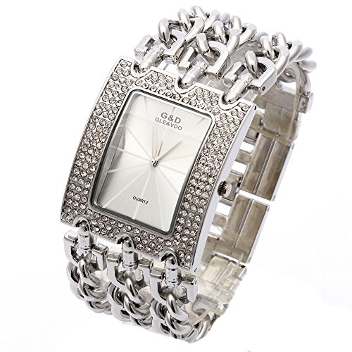 XLORDX Silber Strass Metall Edelstahl Armbanduhr Quartz Armreif Analog Ketteuhr Weiss