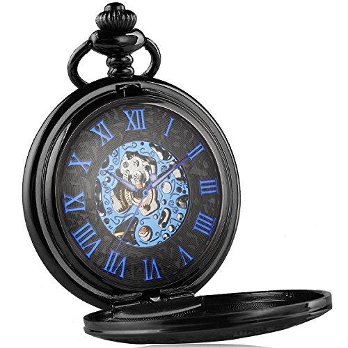 XLORDX Herren Retro Handaufzug mechanische Taschenuhr Skelett Uhr graviert blau schwarz Metall Schwarz