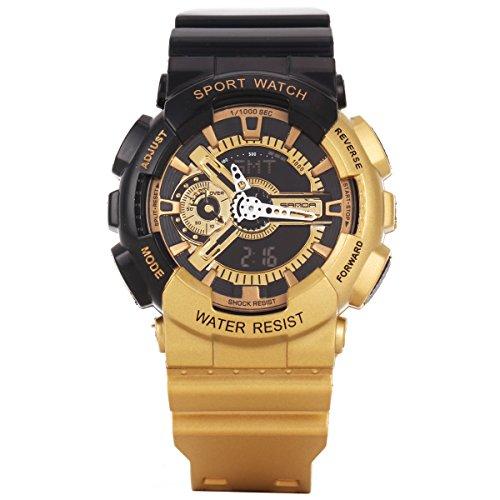 XLORDX LED Analog Digital Dual Time mit Alarm Stoppuhr Chronograph Datum Tag Sport Uhren Gold Schwarz