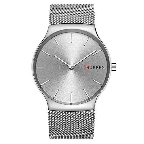 XLORDX Luxus Herren Sport Armbanduhr Minimalistic Analog Quartz Ultra duenn Silber Edelstahl Mesh Band Uhren
