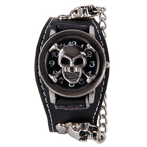 XLORDX Mode Rock skull Punk Leder Quarz Uhr Armbanduhr Kette Schwarz