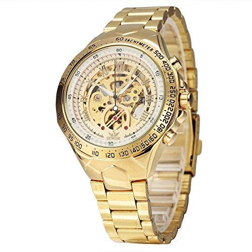 XLORDX Luxus Mechanische Automatik Uhr Roemisch Skelett Gold Edelstahl Armbanduhr Sportuhr Weiss