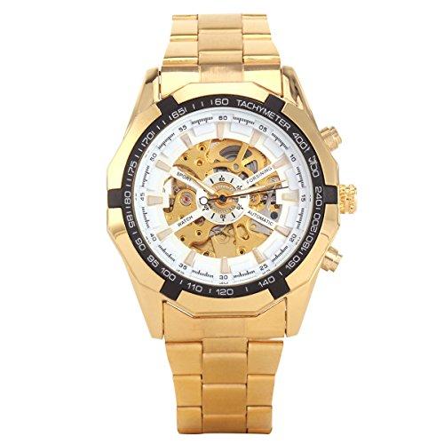 XLORDX Mode Mechanische Automatik Uhr Skelett Gold Edelstahl Armbanduhr Sportuhr Weiss