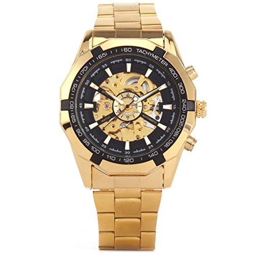 XLORDX Mode Mechanische Automatik Uhr Skelett Gold Edelstahl Armbanduhr Sportuhr Schwarz