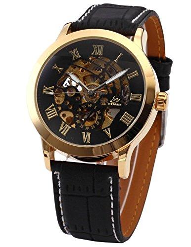 XLORDX Schwarz Skelett Elegante Klassisch mechanische Uhr
