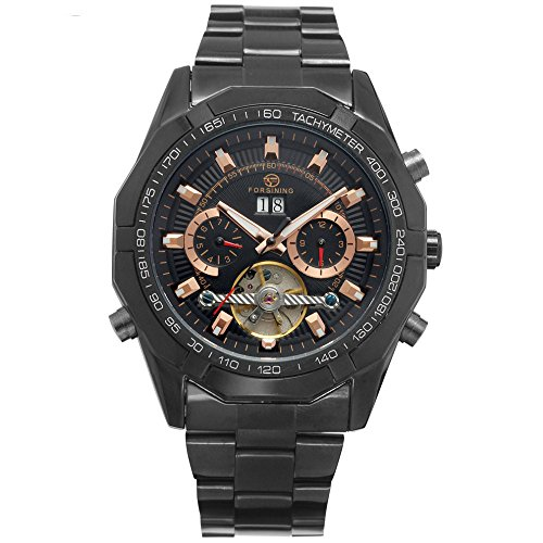 XLORDX Luxus Herren Datum Mechanische Automatik Uhr Skelett Schwarz Edelstahl Armbanduhr Sportuhr Schwarz