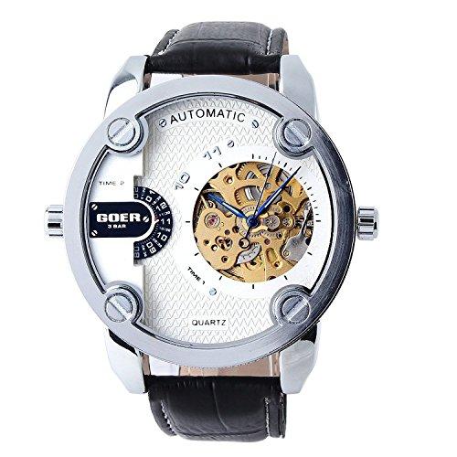 XLORDX mechanische Automatikuhr Skelett Automatik Armbanduhr Uhr Leder Weiss Schwarz