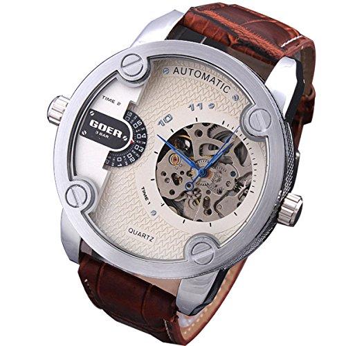 XLORDX mechanische Automatikuhr Skelett Automatik Armbanduhr Uhr Leder Weiss Braun