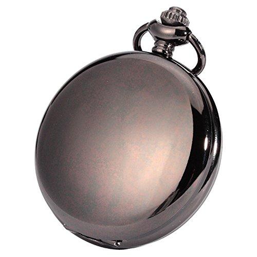 XLORDX Taschenuhr Herren Unisex Quarz Uhr mit Halskette Kette uhr Pocket Watch Geschenk Schwarz