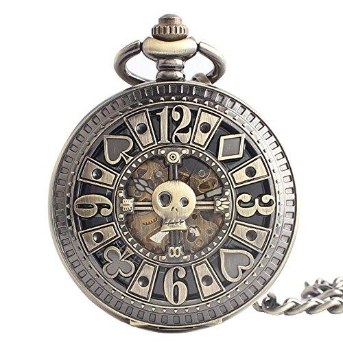 XLORDX Taschenuhr Herren Damen Bronze Openwork Handaufzug Roman mechanische Uhr mit Halskette Kette Skelett Uhr graviert Poker