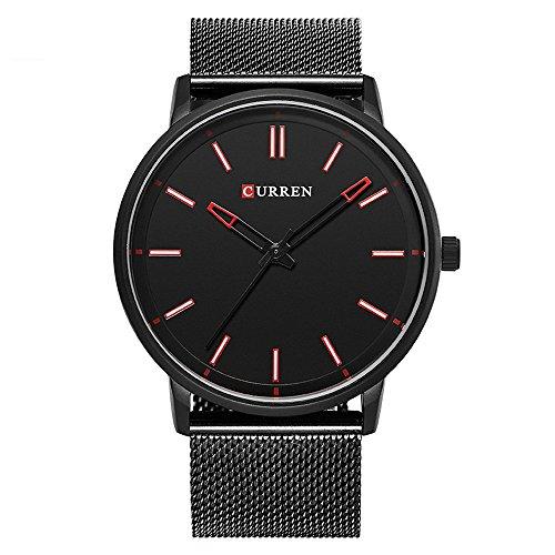 XLORDX Curren Luxus Herren Damen Unisex Armbanduhr Analog Quarz Ultra duenn Schwarz Edelstahl Sportuhr Uhren Rot