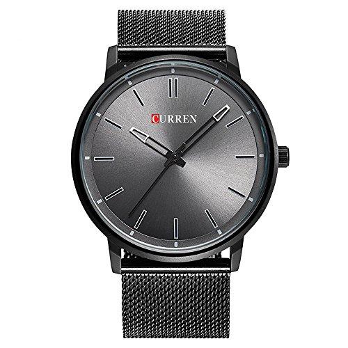 XLORDX Curren Luxus Herren Damen Unisex Armbanduhr Analog Quarz Ultra duenn Schwarz Edelstahl Sportuhr Uhren